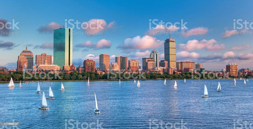 Panoramic View of theBoston Skyline Across the Charles River Bas stock photo