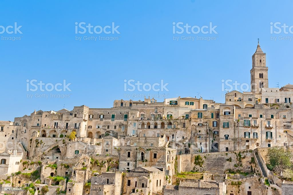 panoramic view of tipical stones and church of Matera stock photo