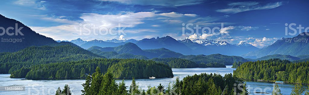 Panoramic view of Tofino, Vancouver Island, Canada stock photo