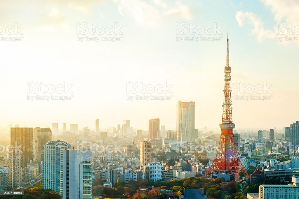 Panoramic view of Tokyo tower under moring sunrise stock photo