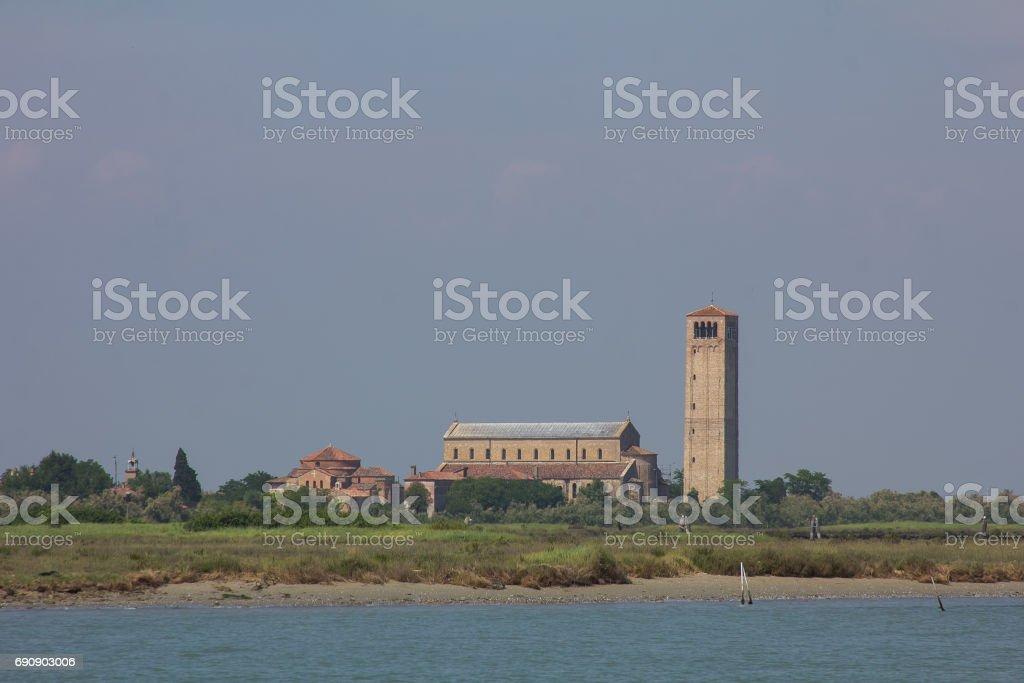 Panoramic view of Torcello island, Venetian lagoon stock photo