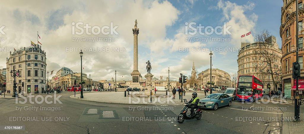 Panoramic view of Trafalgar Square in London - England, UK stock photo