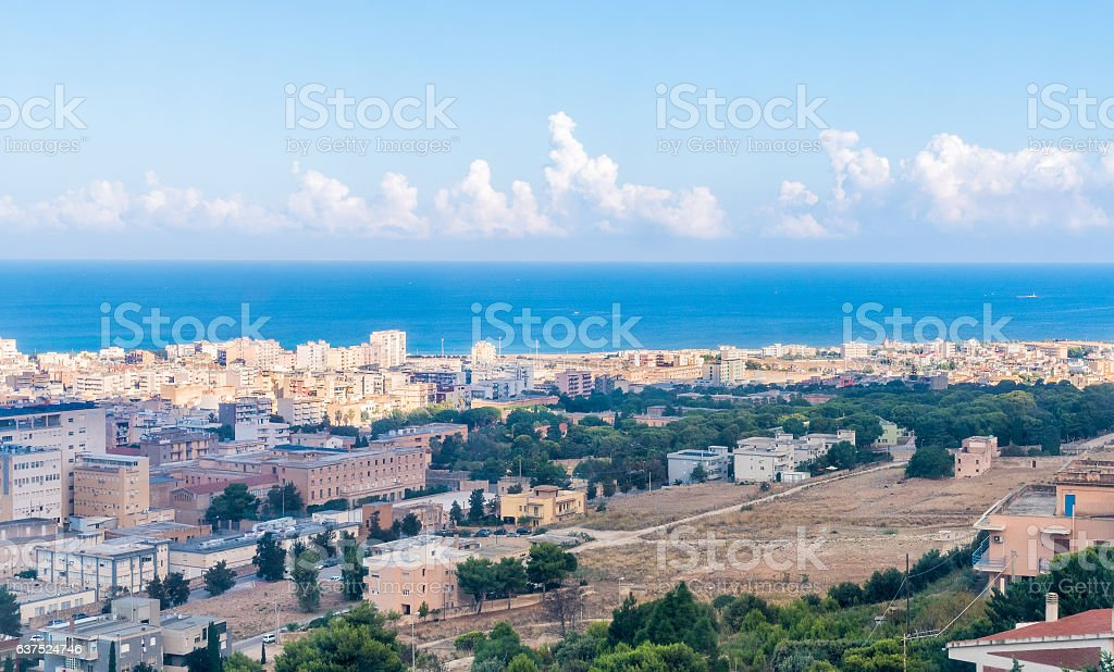 Panoramic view of Trapani from Erice, Italy stock photo