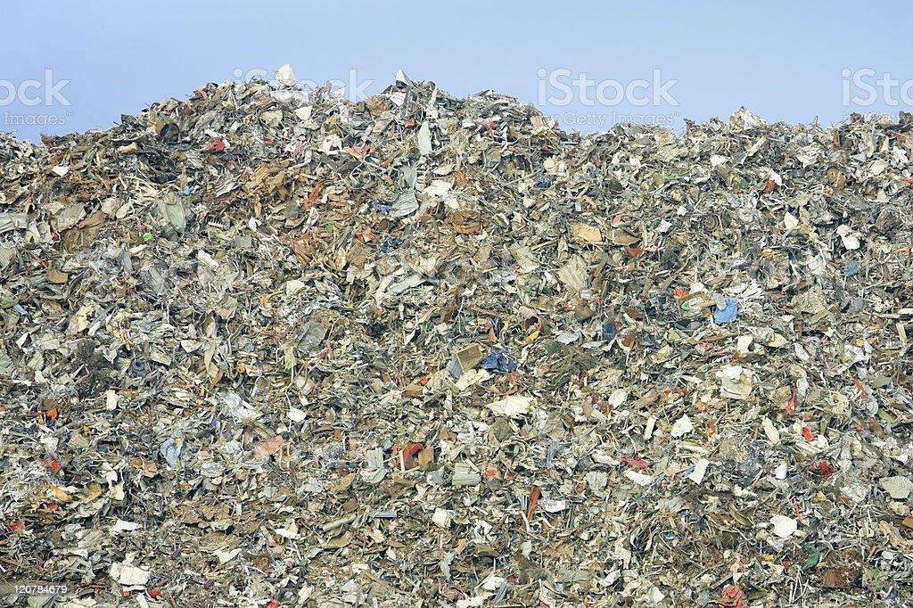 Panoramic view of trash building at a landfill stock photo