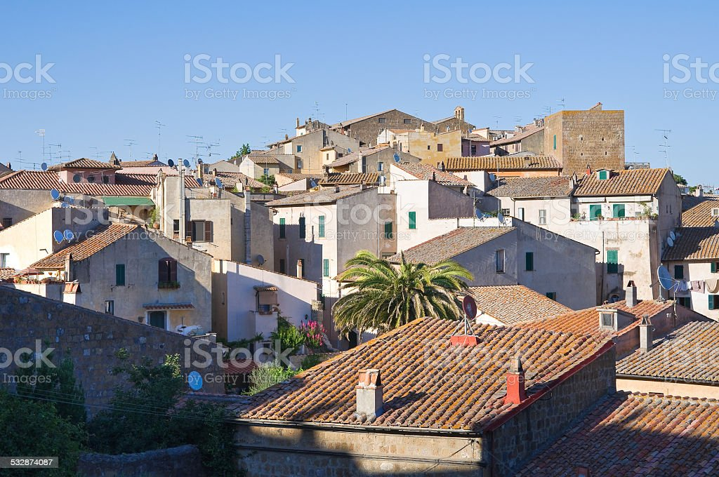 Panoramic view of Tuscania. Lazio. Italy. stock photo