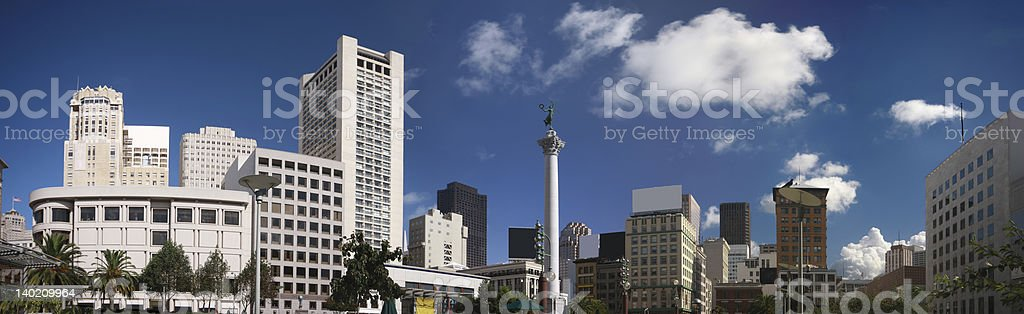 Panoramic view of Union Square  at San Francisco downtown stock photo