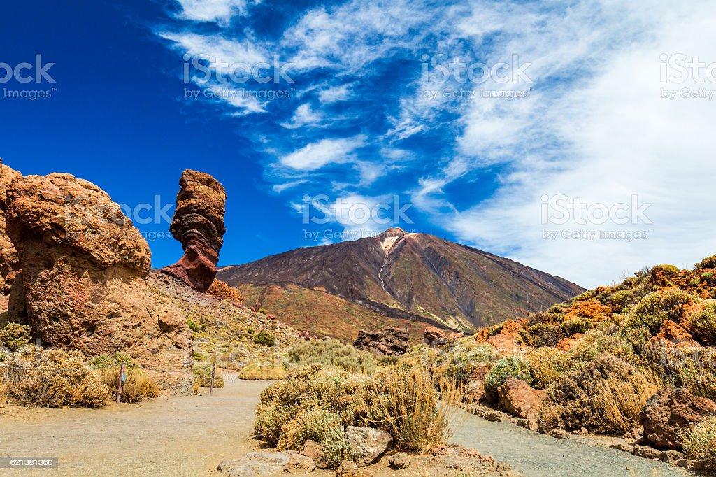 Panoramic view of unique Roque Cinchado unique rock formation stock photo