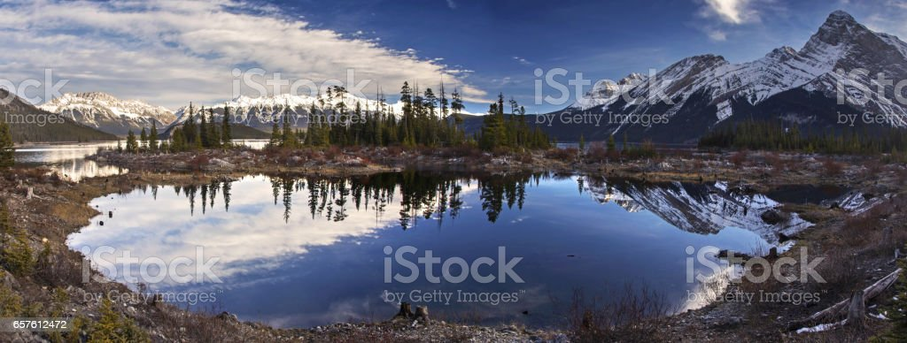 Panoramic view of upper Kananaskis Lake from Point Campground in Canadian Rocky Mountains stock photo