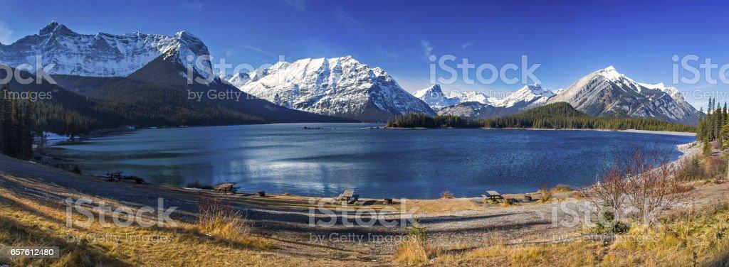 Panoramic View of Upper Kananaskis Lake in Canadian Rockies stock photo