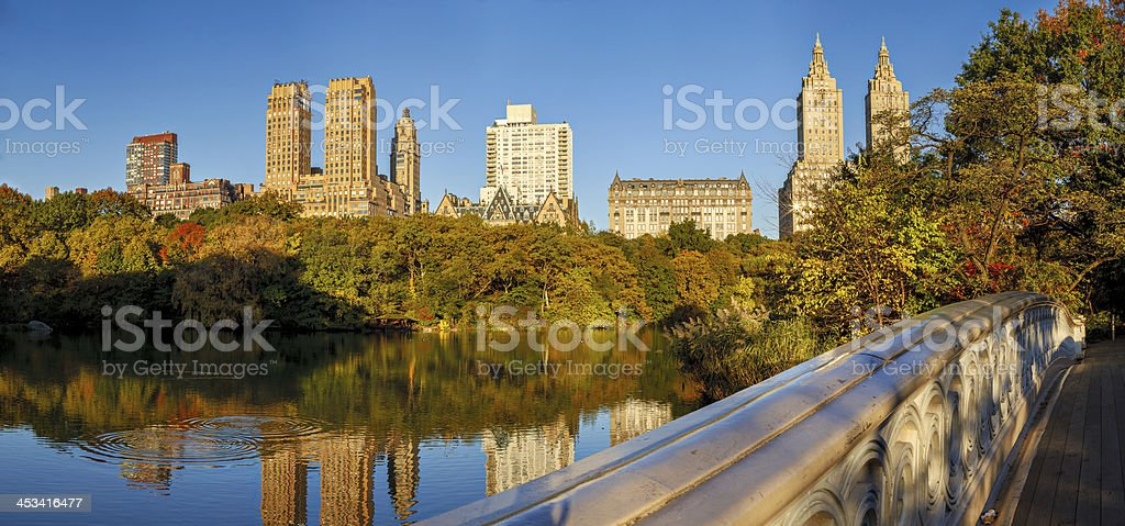 Panoramic view of Upper West Side from the Bow Bridge stock photo