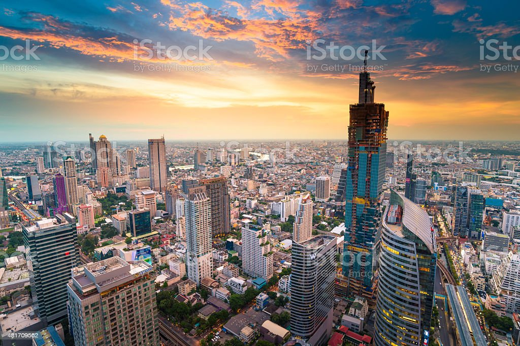 Panoramic view of urban landscape in Bangkok Thailand stock photo
