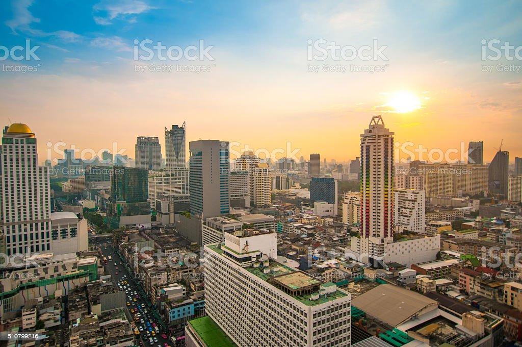 Panoramic view of urban landscape in Bangkok Thailand stock photo