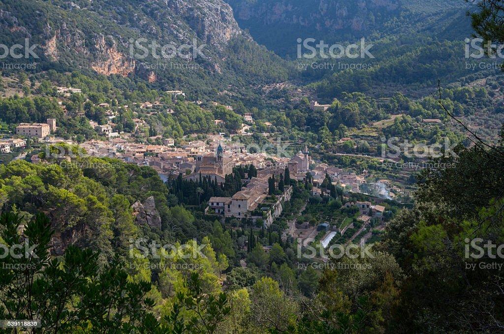 Panoramic view of Valdemossa in Mallorca, Spain stock photo