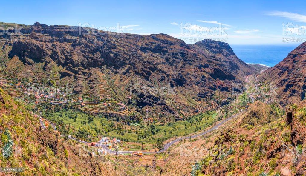 Panoramic View of Valle Gran Rey on Canary Islands La Gomera in the province of Santa Cruz de Tenerife - Spain stock photo