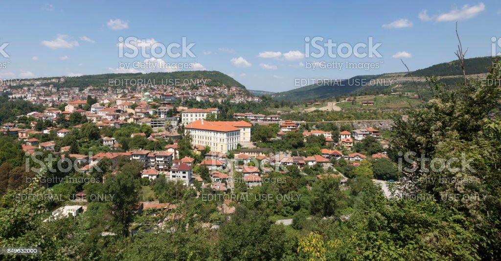 Panoramic view of Veliko Tarnovo in Bulgaria. stock photo