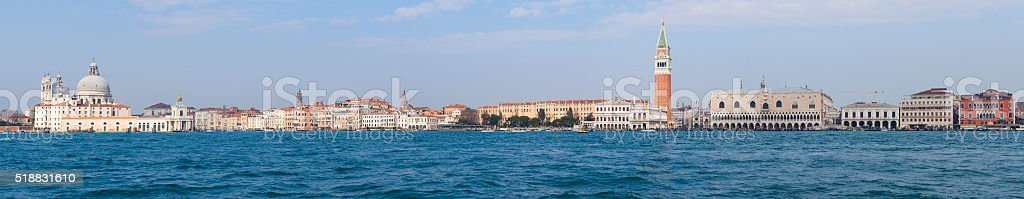 Panoramic view of Venice and San Marco piazza stock photo