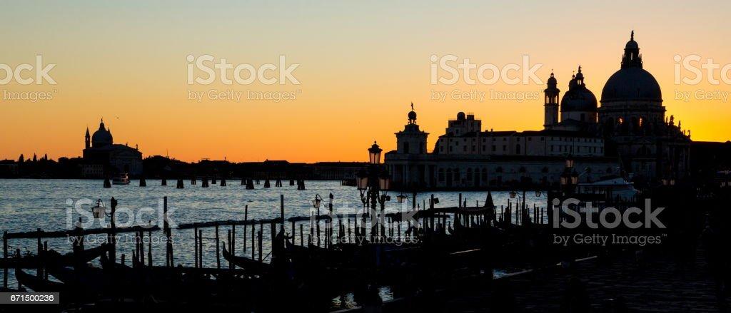 Panoramic View of Venice Sunset stock photo