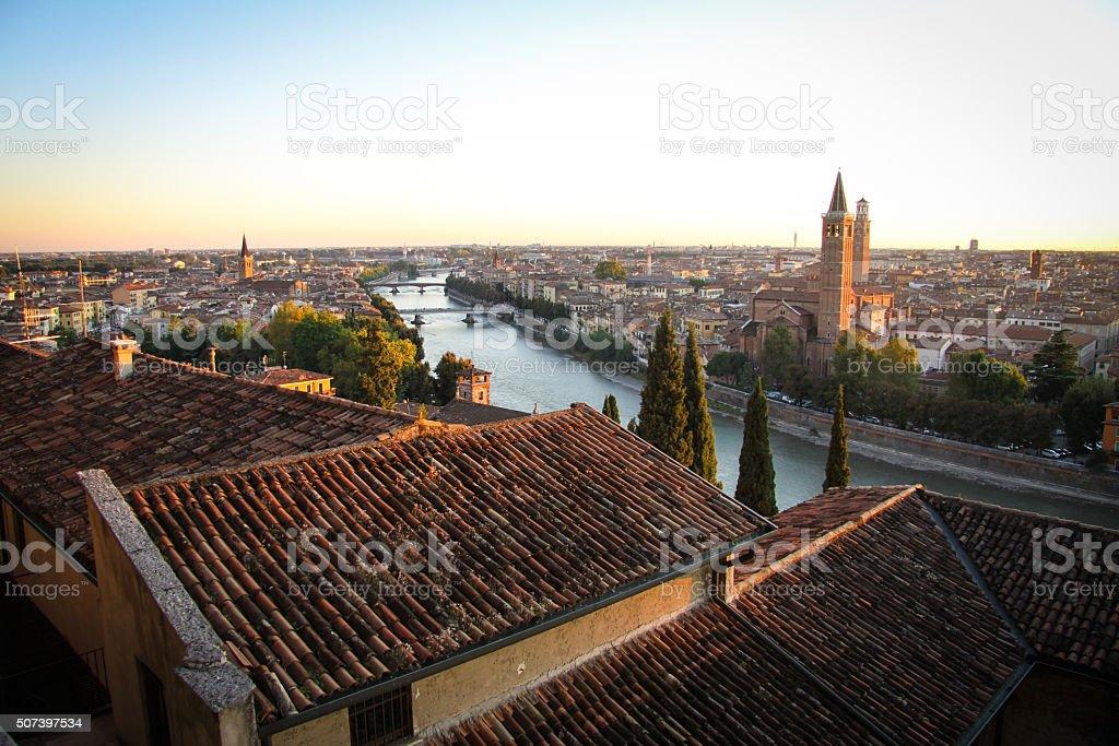 Panoramic View of Verona, Italy stock photo