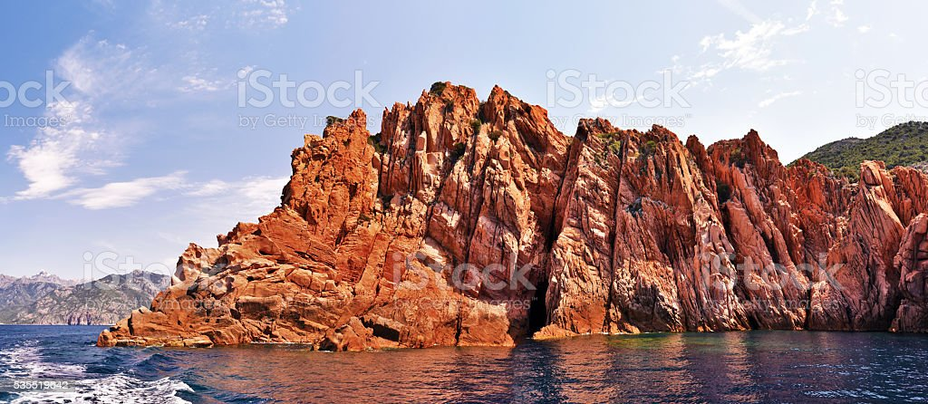 Panoramic view of vertical rocks of Calanques de Piana stock photo