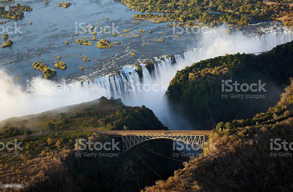 Panoramic view of Victoria Falls and the old bridge stock photo