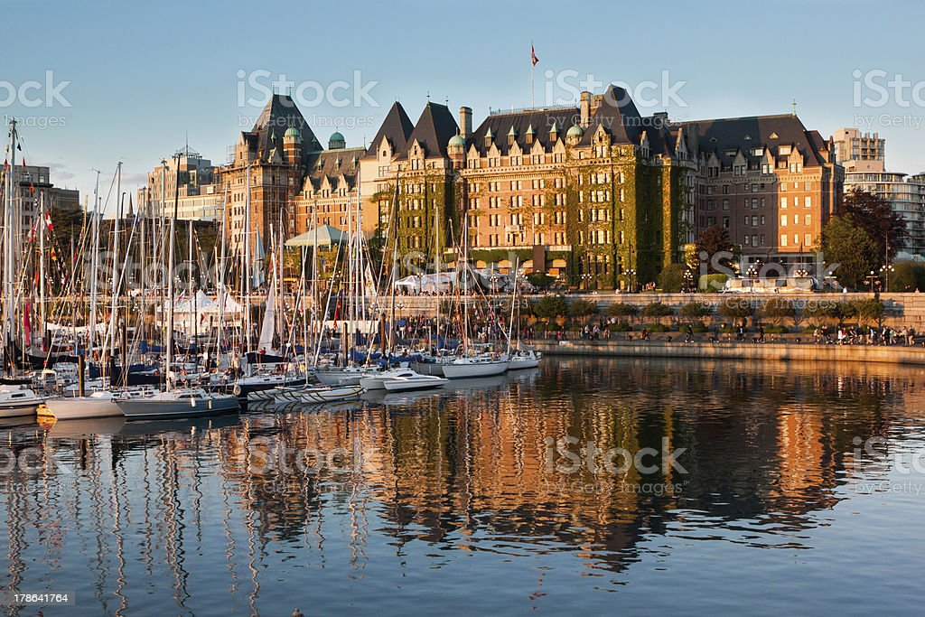 Panoramic view of Victoria's port at British Columbia Canada stock photo