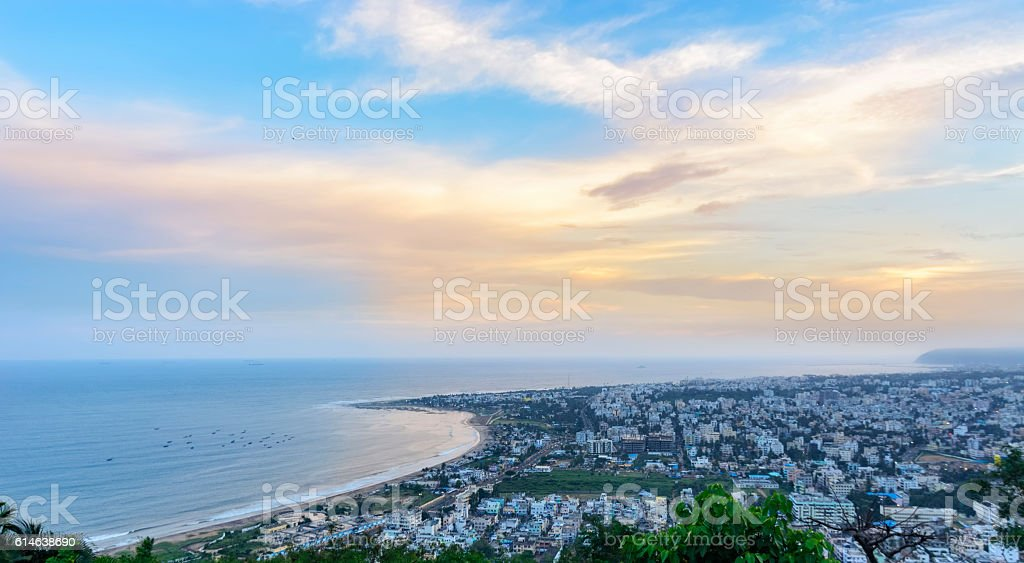 Panoramic View of Vizag City and Beach from Kailasagiri Hill stock photo