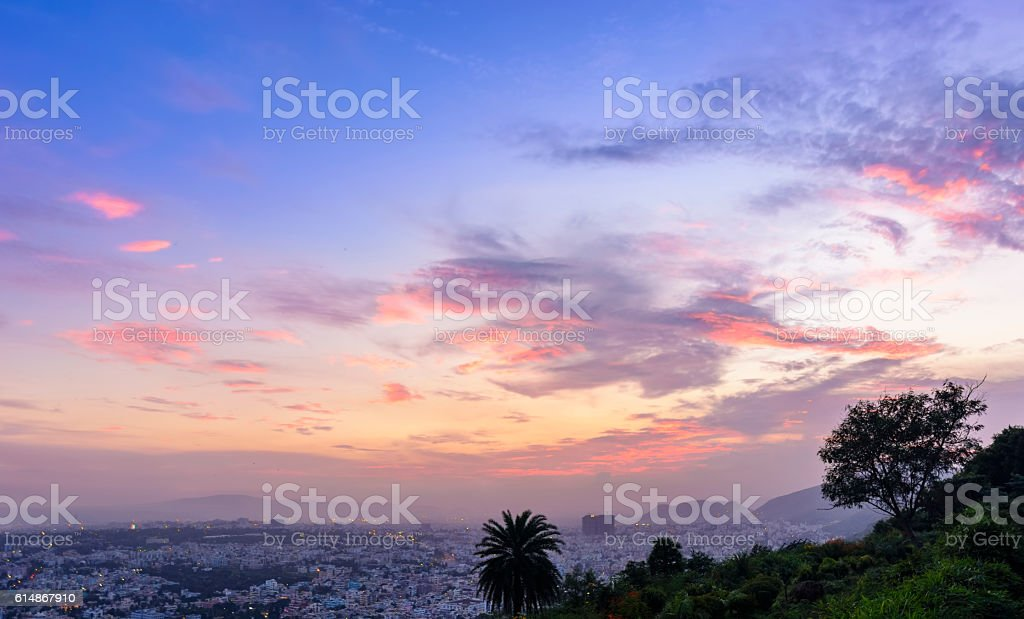 Panoramic view of Vizag City from Kailasagiri Hill stock photo