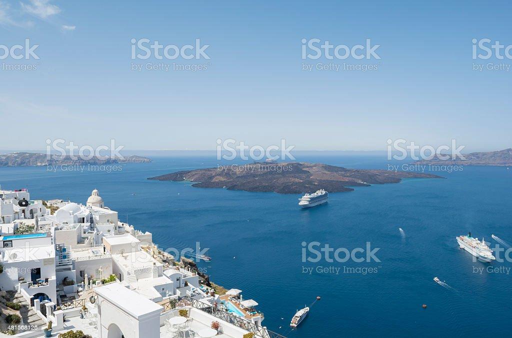Panoramic view of volcano at Fira, Santorini stock photo