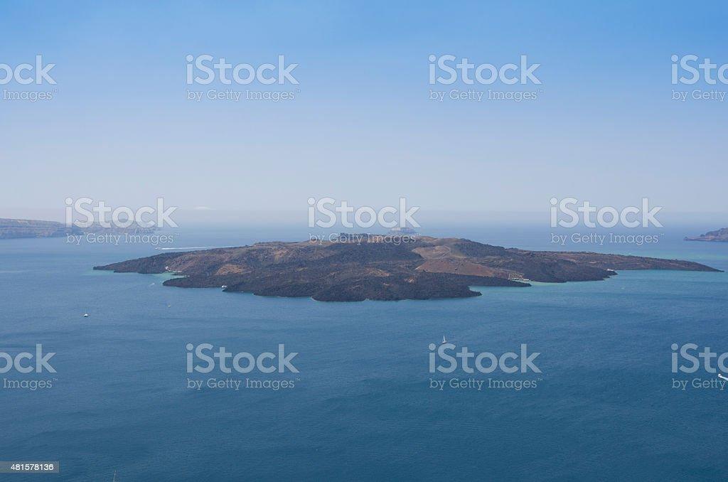 Panoramic view of volcano at Santorini stock photo