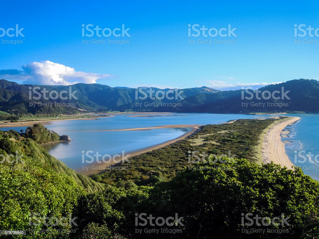 Panoramic view of Wainui Bay stock photo