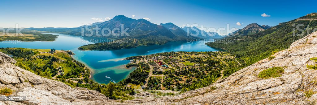 Panoramic View of Waterton and Lakes from Bear Hump Hike stock photo