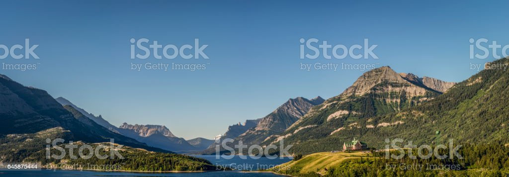 Panoramic view of Waterton and Lakes National Park stock photo