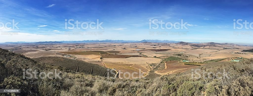 Panoramic view of Western Cape Winelands stock photo