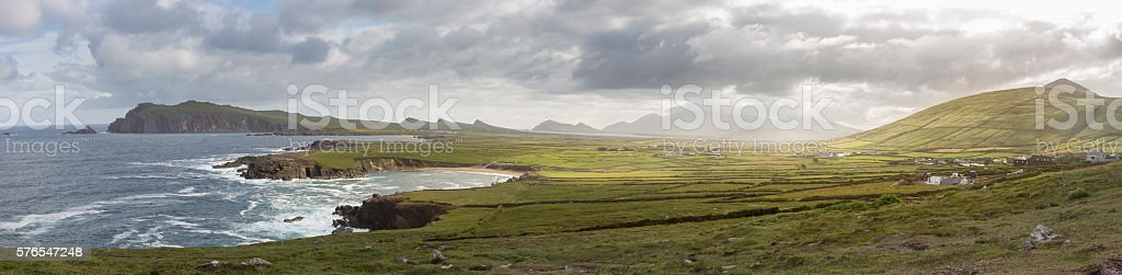 Panoramic View of Western Coast of Dingle Peninsula, Ireland stock photo