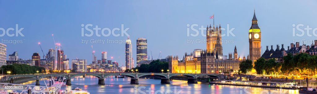 Panoramic view of Westminster Bridge and Westminster Palace with Big Ben at dusk stock photo
