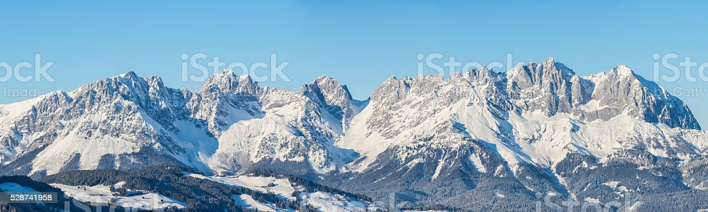 panoramic view of Wilderkaiser Spitze, Kitzbuhel, Austria stock photo