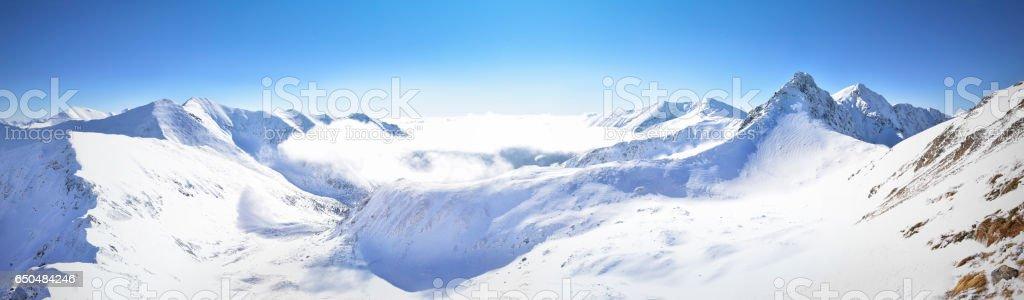 Panoramic view of winter west Tatra mountain. stock photo