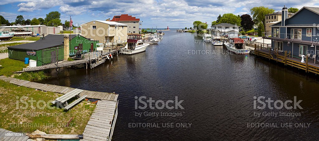 Panoramic View of Wisconsin Fishing Village royalty-free stock photo