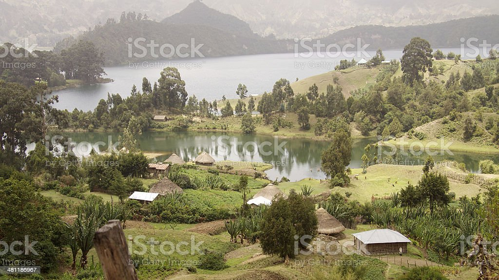 Panoramic view of Wonchi Crater Lake in Ethiopia stock photo