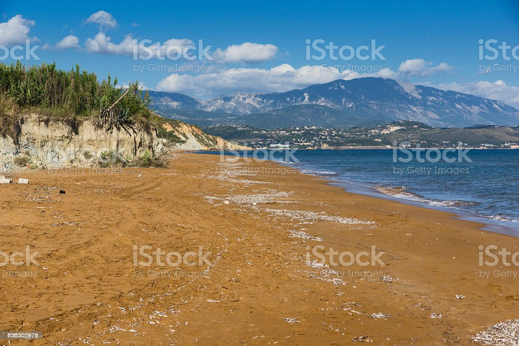 Panoramic view of Xi Beach,beach with red sand in Kefalonia stock photo