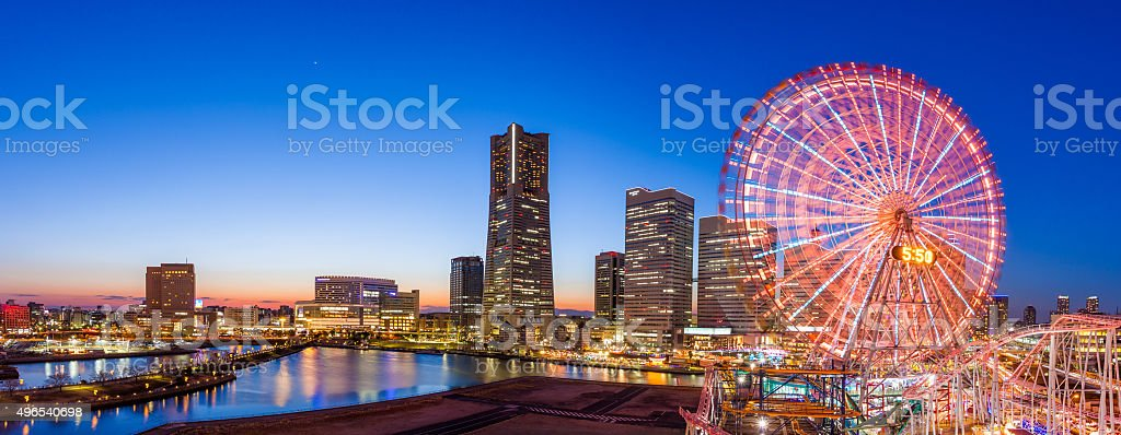 Panoramic view of Yokohama skyline stock photo