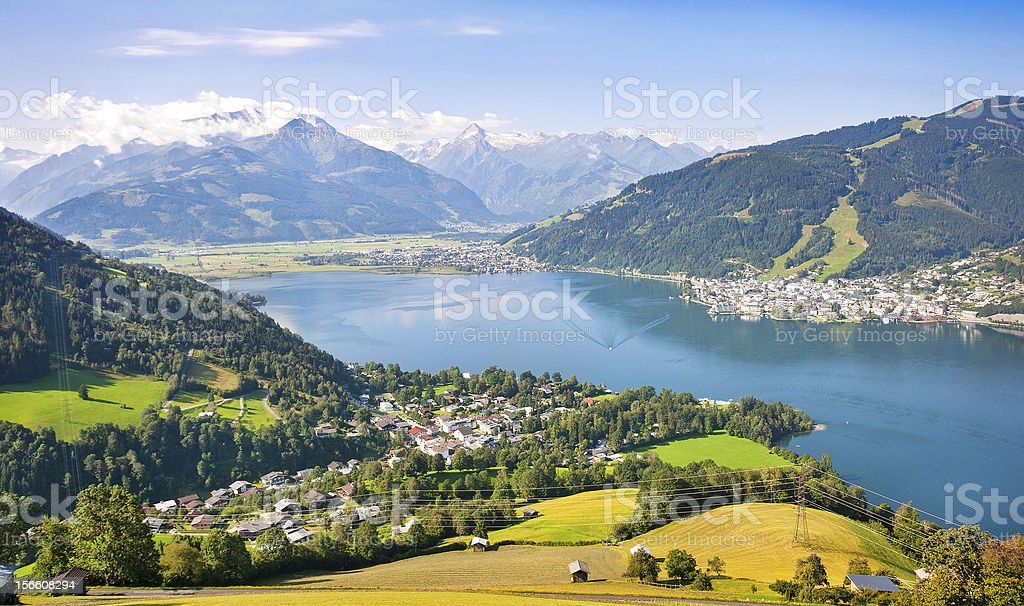 Panoramic view of Zell am See, Austria royalty-free stock photo