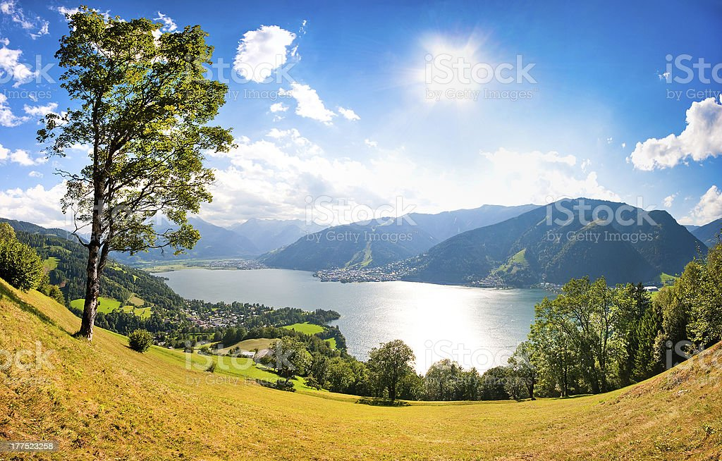 Panoramic view of Zell am See, Austria stock photo