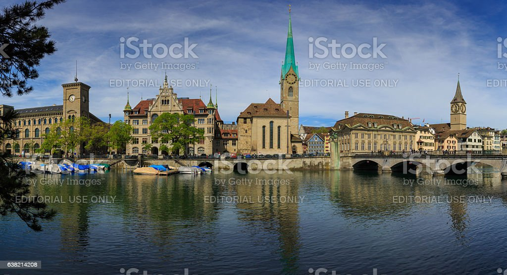 Panoramic view of Zurich with  Fraumunster Church at Lake Zurich stock photo