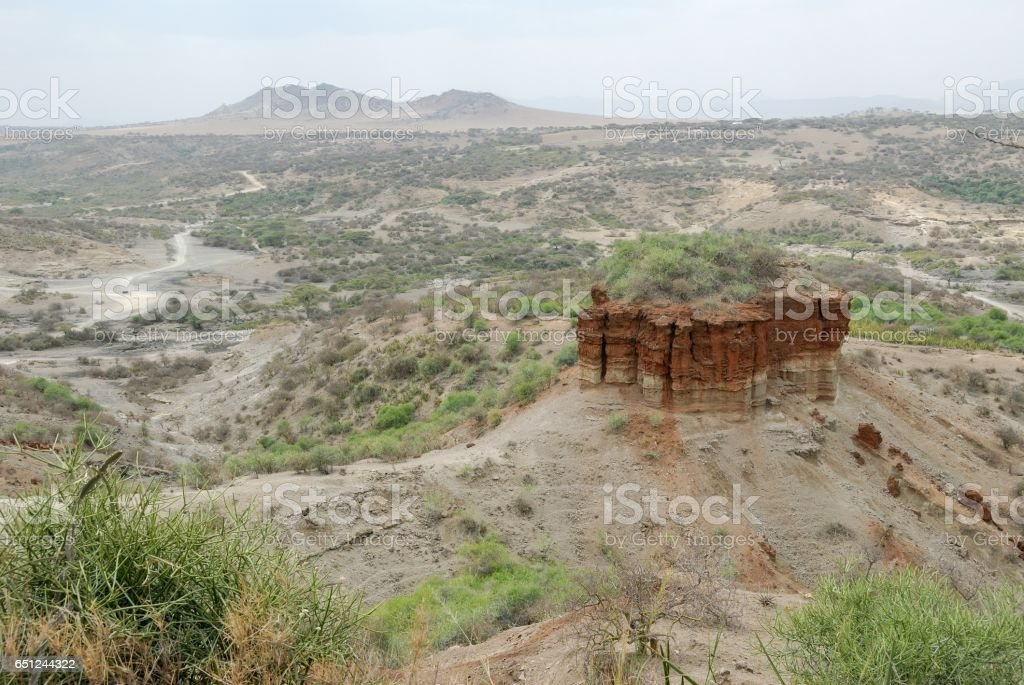 Panoramic view Olduvai Gorge, the Cradle of Mankind, Great Rift Valley, Tanzania, Eastern Africa stock photo