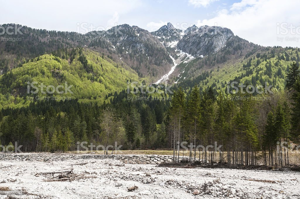 Panoramic view on Alps mountains in Friuli Venezia Giulia, Italy royalty-free stock photo