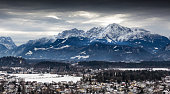 panoramic view on Austrian Alps covered by snow