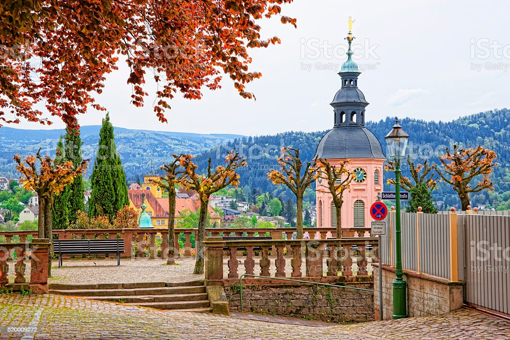 Panoramic view on Baden-Baden church and the city stock photo