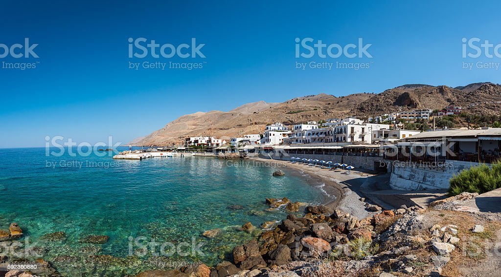 Panoramic view on bay with small beach on Crete island stock photo