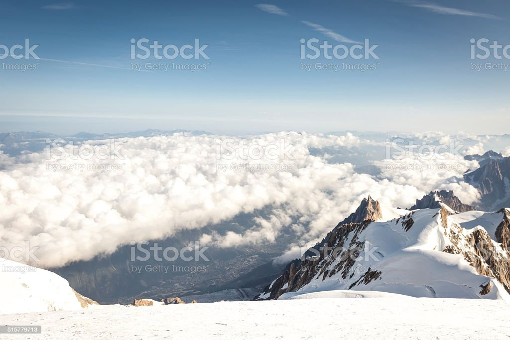 Panoramic view on Chamonix stock photo